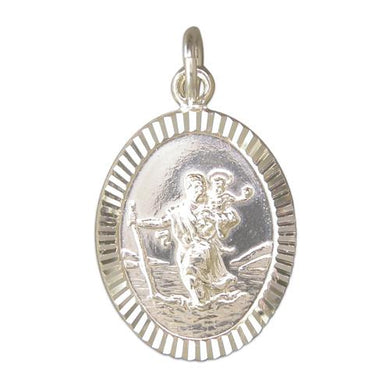 Sterling Silver Large Diamond Cut Oval ST Christopher