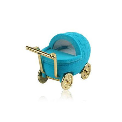 Novelty Blue Baby Pram Shaped Hinged Ring Jewellery Box - Queen of Silver