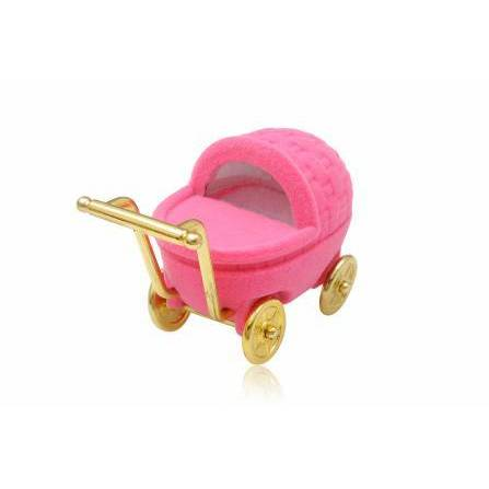 Novelty Pink Baby Pram Shaped Hinged Ring Jewellery Box - Queen of Silver