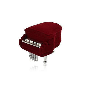 Novelty Maroon Traditional Piano Shaped Hinged Ring Jewellery Box - Queen of Silver