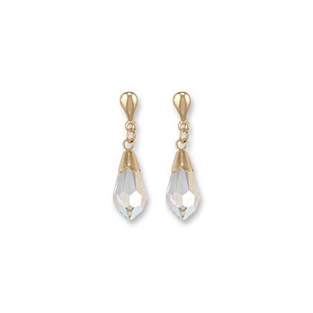 9ct Yellow Gold White Austrian Crystal Drop Studs Earrings - Queen of Silver