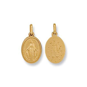 9ct Yellow Gold Miraculous Medallion Christopher Pendant - Queen of Silver