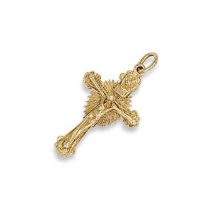 9ct Yellow Gold Casted Crucifix Pendent - Queen of Silver