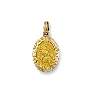 9ct Yellow Gold Oval Shaped St Christopher Pendant - Queen of Silver