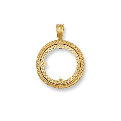 9ct Yellow Gold (Full) Scroll Top Sovereign Pendant - Queen of Silver
