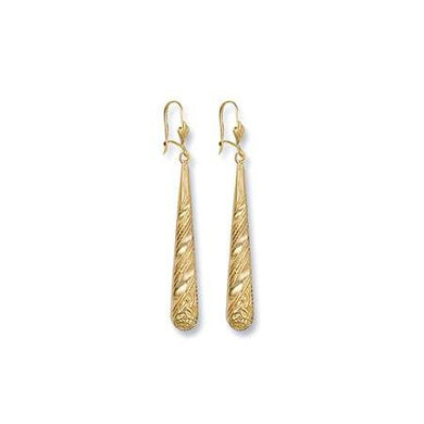 9ct Yellow Gold Patterned Drops - Queen of Silver