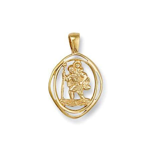 9ct Yellow Gold  Cut Out St Christopher Pendant - Queen of Silver