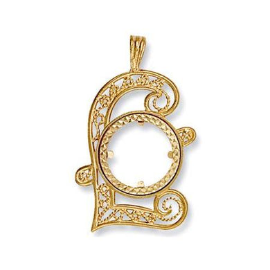 9ct Yellow Gold (Half) Pound Sign Sovereign Pendant - Queen of Silver