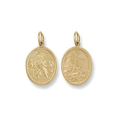 9ct Yellow Gold Double Sided Oval Shaped St Christopher Pendant - Queen of Silver