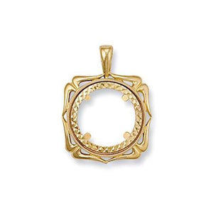 9ct Yellow Gold  (Half) Fancy Sovereign Pendant - Queen of Silver