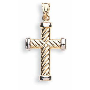 9ct White & Yellow Gold Ribbed Cross Pendent - Queen of Silver