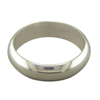 Sterling Silver Heavy D-Shape Wedding Band Ring