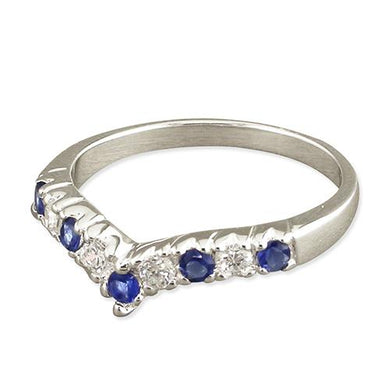 Sterling Silver Synthetic Sapphire Cubic Zirconia Half Wishbone Ring