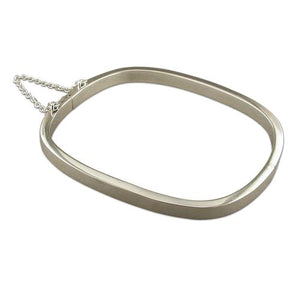 Sterling Silver Plain TV-Shape Clip Bangle