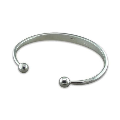 Sterling Silver Heavy Men's Solid Torc Bangle