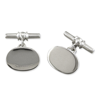 Sterling Silver Plain Oval Cufflinks Gifts