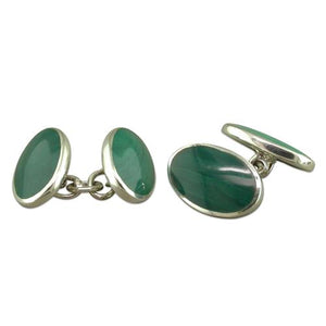 Sterling Silver Double Oval Malachite Cufflinks Gifts
