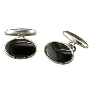 Sterling Silver Double Oval Onyx Cufflinks Gifts