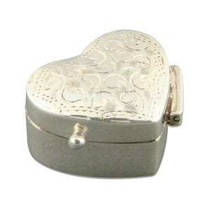 Sterling Silver Full Engraved Heart Pill Box Gifts