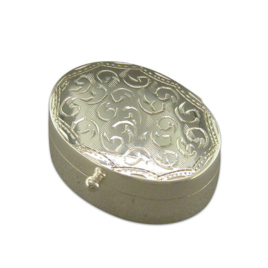 Sterling Silver Full Engraved Oval Pill Box Gifts
