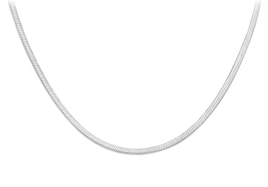 9ct White Gold Flat Snake Chain 41cm/16