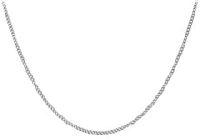 "9ct White Gold 25pg Diamond Cut Adjustable Curb Chain 41cm/16""-46cm/18"""