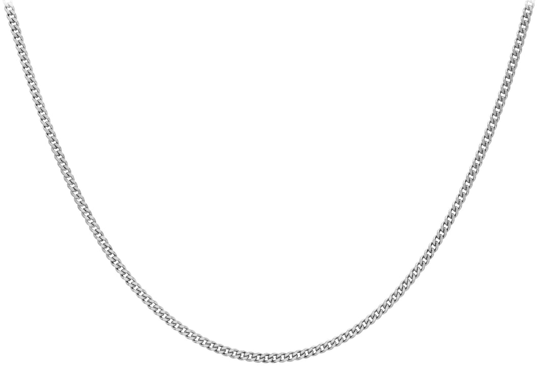 9ct White Gold 25pg Diamond Cut Adjustable Curb Chain 41cm/16