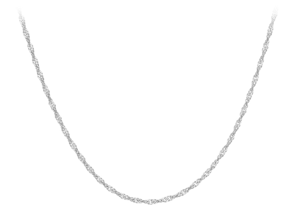 9ct White Gold 20pg Twist Curb Chain 24