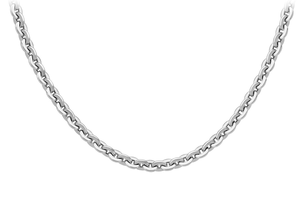 9ct White Gold 120pg Hollow Trace Chain 51cm/20