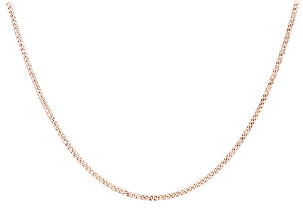 9ct Rose Gold 20pg Diamond Cut Curb Chain 46cm/18