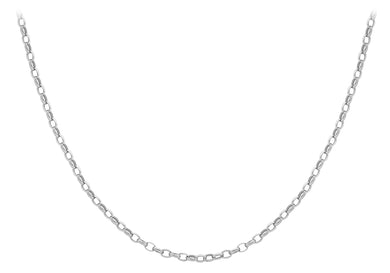 9ct White Gold Oval Belcher Chain 41cm/16