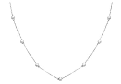 9ct White Gold Ball And Belcher Chain Necklace 43cm/17