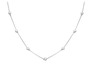 9ct White Gold Ball And Belcher Chain Necklace 43cm/17""