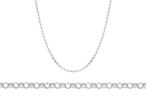 9ct White Gold 65pg Round Belcher Chain