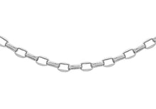 9ct White Gold 100pg Diamond Cut Oval Belcher Chain