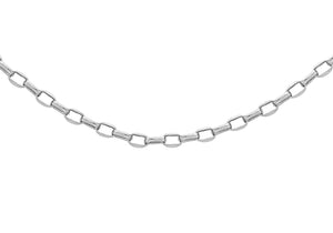 9ct White Gold 80pg Hollow Oval Diamond Cut Belcher Chain 22""