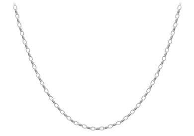 9ct White Gold 130pg Oval Belcher Chain