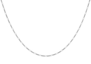 9ct White Gold 50pg Diamond Cut Figaro Chain