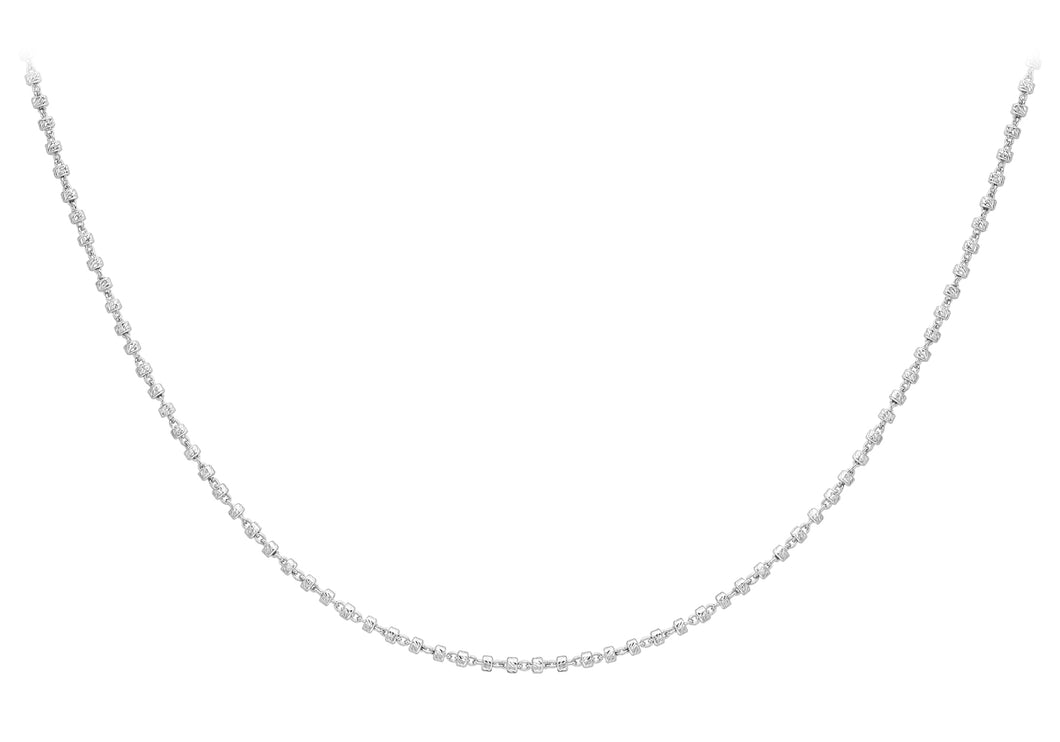 9ct White Gold Diamond Cut Ball Chain