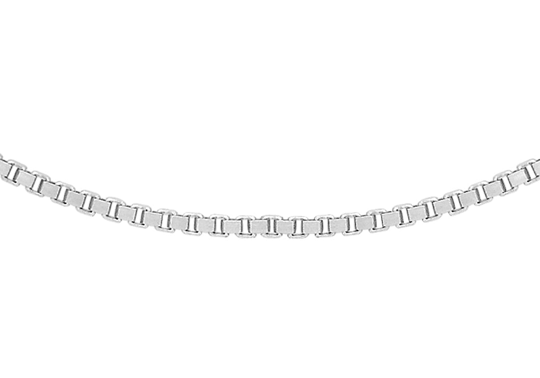 9Ct White Gold 15pg Venetian Box Chain Adjustable