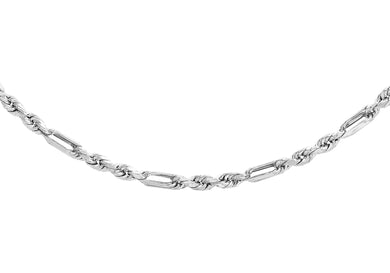 9ct White Gold 40pg Diamond Cut Figaro Chain 41cm/16