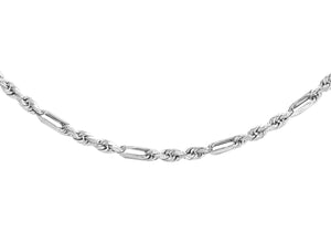 9ct White Gold 40pg Diamond Cut Figaro Chain 41cm/16""