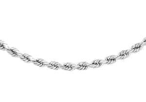 9ct White Gold 60pg Diamond Cut Rope Chain