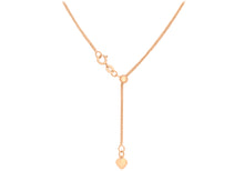 9ct Rose Gold 25pg Adjustable Heart Slider Spiga Chain 56Cm/22""