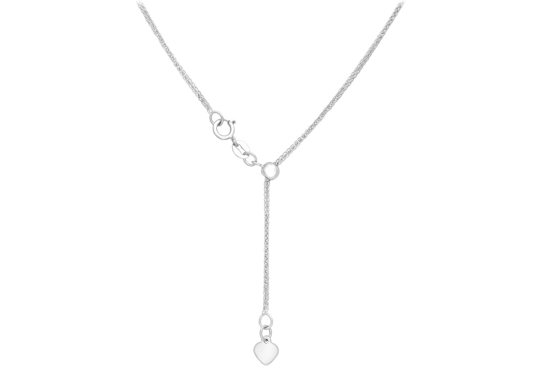 9ct White Gold 25pg Adjustable Heart Slider Spiga Chain 56Cm/22
