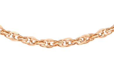 9ct Rose Gold 40pg Diamond Cut Prince Of Wales Chain