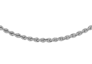 9ct White Gold 40pg Hollow Rope Chain