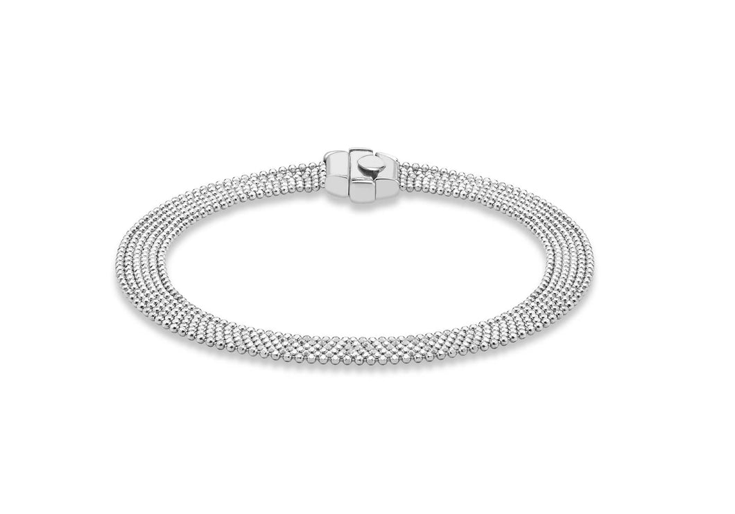 9ct White Gold Diamond Cut Six String Ball Chain Bracelet 19cm/7.5