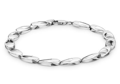 9ct White Gold Oval Link Bracelet 20cm/8