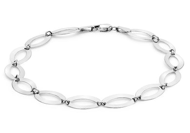 9ct White Polished Elliptic Bracelet 18cm/7